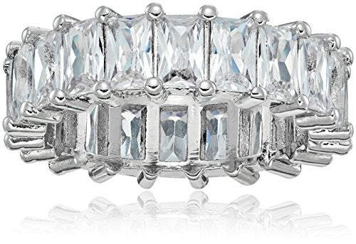 Sevil 18K White Gold Emerald Cut CZ Eternity Ring