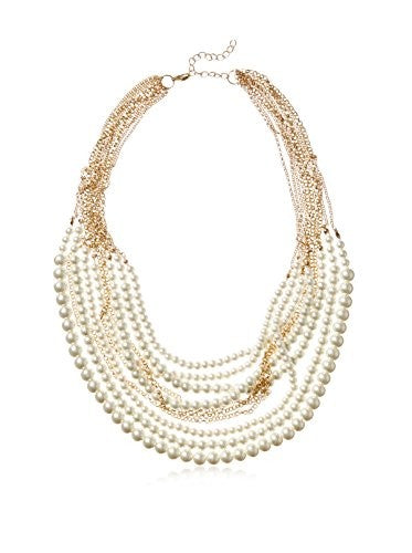 Kenneth Jay Lane Multi Row Gold-Tone Chain Necklace