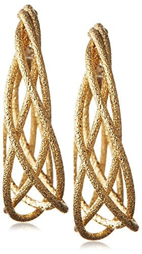 Kenneth Jay Lane Satin Textured Gold-Tone Hoop Earring