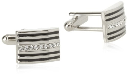 Geoffrey Beene Men's Stripes and Crystal Cufflinks