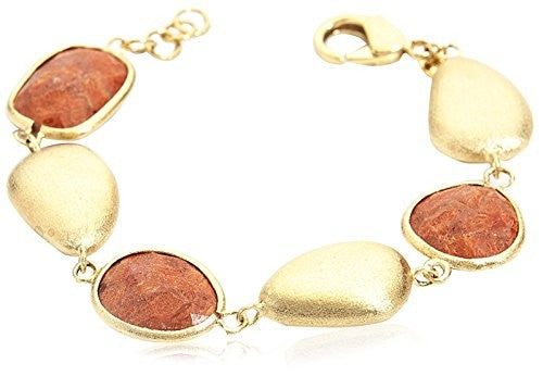 Rivka Friedman Jewelry 18K Gold-Plated Facted Coral & Pebble Station Bracelet