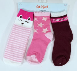 Cat And Jack Toddler Girl's Crew Socks Pink Cats Stars Size 4t - 5t, Multicolored