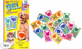 16ct Valentine's Day Mello Smello Cats and Dogs Gel Cling Cards