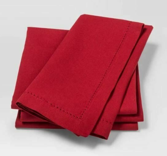 NEW! Threshold Napkins 4 ct Red Fabric Ruby Holiday Reusable 20x20