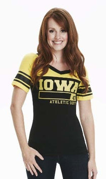 NCAA Iowa Hawkeyes Women's Colorblock Football Tee