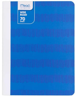 Mead 70 Sheet Wide Ruled Paper Cover Notebook - Blue