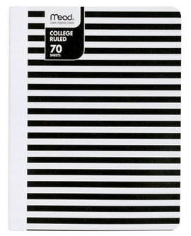 Mead 70 Sheet College Ruled Paper Cover Notebook - Black