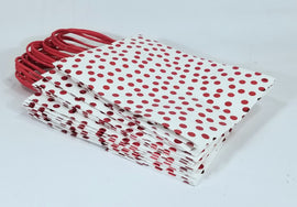 SPRITZ - 12 Pack of Gift Bags, White with Red Dots, 10.25in Tall X 8in X 4.25in