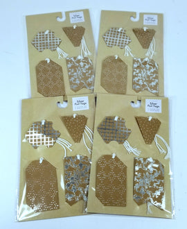 4 Packs of 8 Count - Silver Foil Gift Tags, 2 Each of 4 Designs