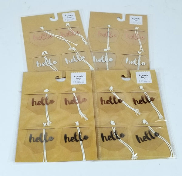 4 Packs of 4 Count - Acetate Hello Tags, 2 Each of 2 Designs