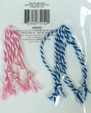 4 Packs of 8 Count - 2 Spring Designs Blue and Pink, Blue or Pink Tie Strings