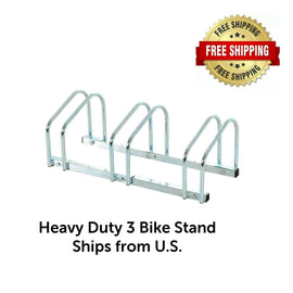 3-Bike Floor Bike Stand-Silver Bicycle Rack Stand Parking Mounted Holder