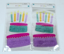 2 Packs of 16 Count Each - Gel Clings for Windows, Refrigerator - Birthday Cake