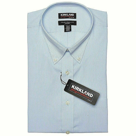 Kirkland Signature Men's Button Down Dress Shirt Light Blue Size 16.5 (32/33)