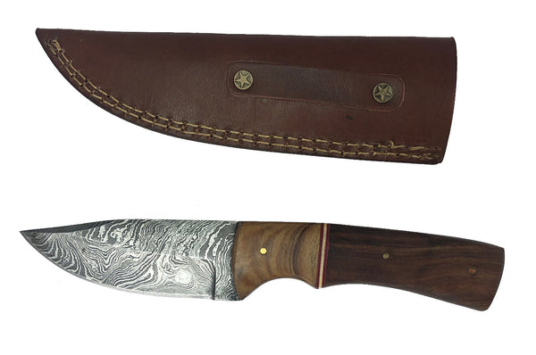 Damascus Steel Skinning Knife Handmade Leather Sheath Rosewood/Burl Wood Handle