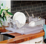 Polder 4 Piece Dish Stainless Steel Rack Set Slide Out Drying Tray Clear