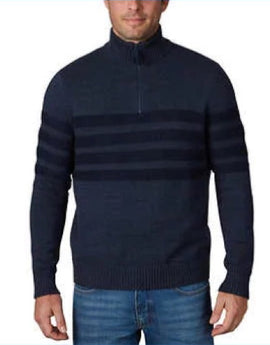 Tahari Men's Long Sleeve Sweater Quarter Zip Pullover Blue Large