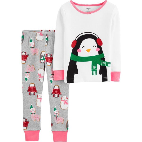 Toddler Girl Carters 2-Piece White Penguin Snug Fit Cotton PJs Size 5