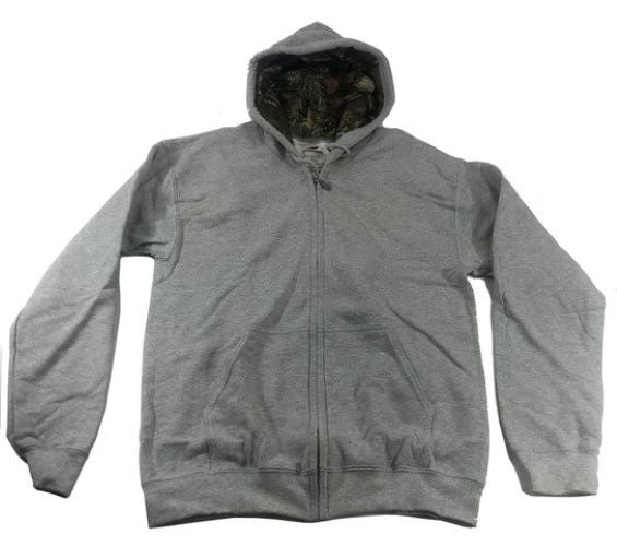 Men's Full Zip Hoody Mossy Oak Hood Lining Pockets SPORT GREY - Size L