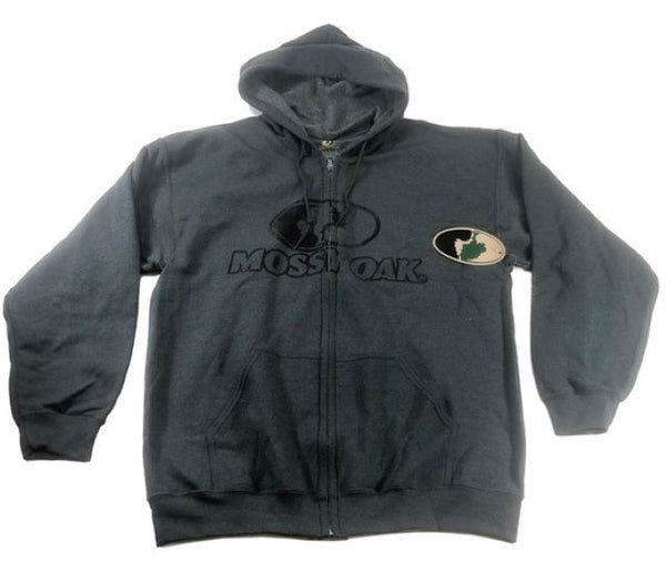 Men's Full Zip Hoody Mossy Oak Hood Lining Pockets DARK HEATHER - Size L