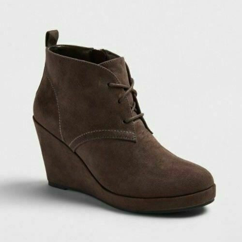 Women's Dv Terri Lace Up Wedge Booties - Gray 9