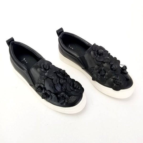 A New Day, Women's Samara 3D Floral Twin Gore Sneakers, Color: Black