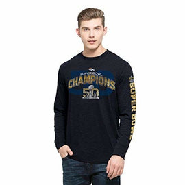 '47 NFL Denver Broncos Men's 2015 Super Bowl 50 Champions Two Peat Long Sleeve Scrum Tee