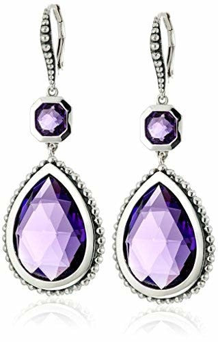 Stephen Dweck Sterling Hook Clasp/Purple Quartz Double Gem Drop Earrings