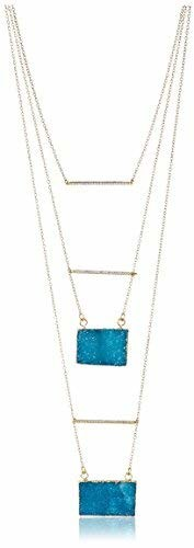 Kevia Layered Necklace with Two Druzy Pendants and Three Pave Set CZ Bars