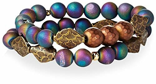 Gemelli Tribal Bracelet Set, Rainbow Druzy