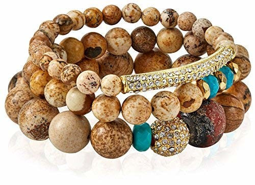 Devoted Pave Mala Bead Bracelet Set, Natural