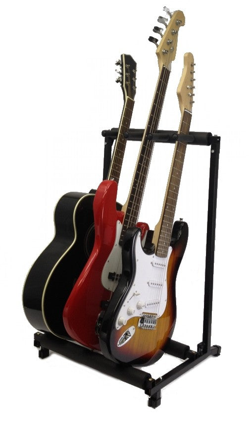 3 GUITAR STAND - MULTIPLE Three INSTRUMENT Display Rack Folding Padded Organizer