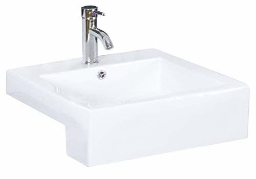 American Imaginations AI-5-1581 Semi-Recessed Rectangle Vessel for Single Hole Faucet, 20-Inch x 20-Inch, White