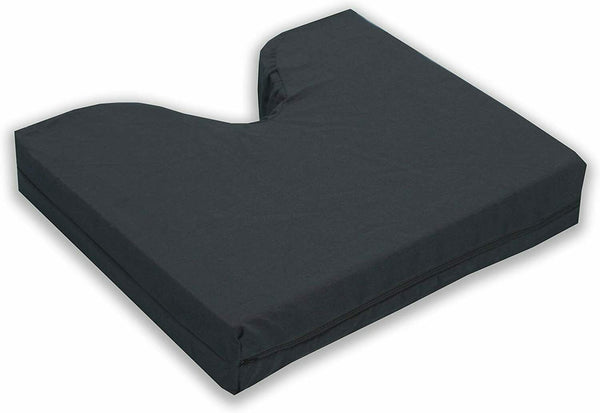 Hermell Products Coccyx Cushion w/ Polycotton Zippered Cover, Black