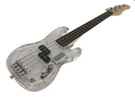 Kids Clear Acrylic Body Mini Electric Bass Guitar with LED Lights in Body and Fretboard