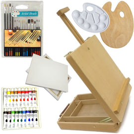 Painting Kit 18 Color Acrylic Paints, 15 Brushes, Easel, 2 Palettes and 2 Canvas