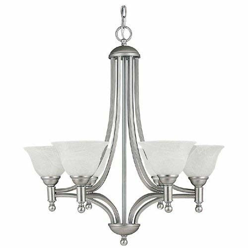 Capital Lighting 4356MN-220 Chandelier with Faux White Alabaster Glass Shades, Matte Nickel Finish