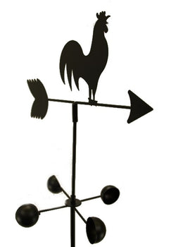 EDM - WEATHER VANE Rooster 5 Feet Tall Black Garden Mount Yard Décor
