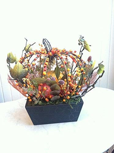 Fortune Share Large Decorative Basket with Mix Pumpkins - Great for Fall, and All Seasons - Perfect for the Holidays and all seasons.