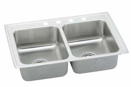 Elkay LRAD3321650 0-Hole Gourmet Lustertone 33-Inch x 21-1/4-Inch Double Basin Stainless Steel Kitchen Sink