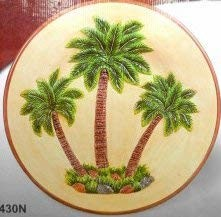 Large Serving Platter Ceramic Tropical Palm Trees Design