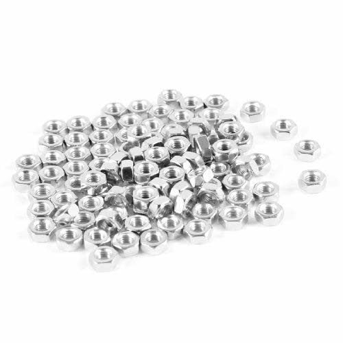 uxcell Metric 201 Stainless Steel Hexagon Hex Nut Silver Tone