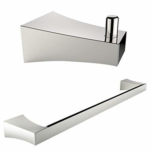 American Imaginations AI-13293 Single Rod Towel Rack and Robe Hook Accessory Set, Chrome Plated