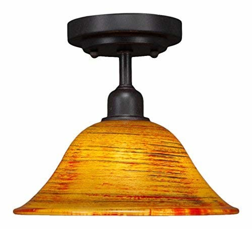 Toltec Lighting Vintage 1 Bulb Semi-Flush with 10
