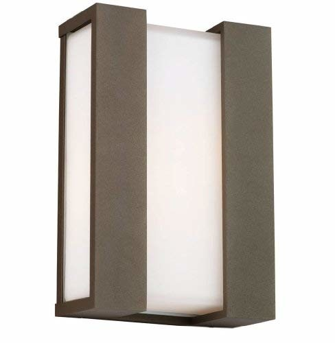 Forecast Lighting F8541-11U Newport Two-Light Energy Efficient Exterior Wall with Etched White Opal Glass, Bronze TDL Finish