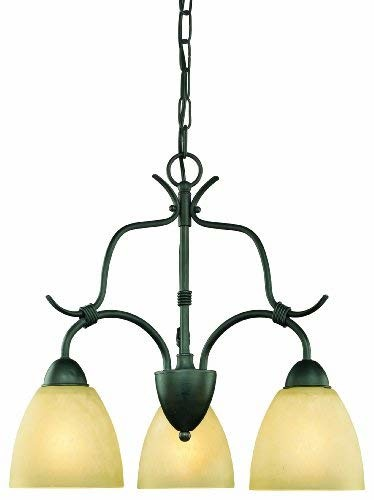 Thomas Lighting SL882063 Limestone Collection 3 Light Chandelier, Painted Bronze
