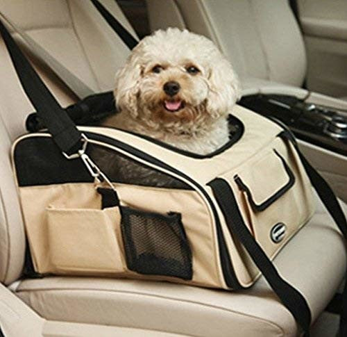 Waterproof Luxury Car Seat Carrier Travel Collapsible Cage Booster for Puppy Dog Cat, Best Pet Booster Seat for Cars, Trucks and Suvs (Beige, Size L 41*34*30cm)