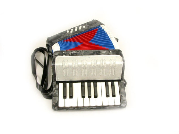 ACCORDION SILVER 17 KEYS BUTTONS + 8 BASS PADS KEY C ORGAN PIANO Concertina
