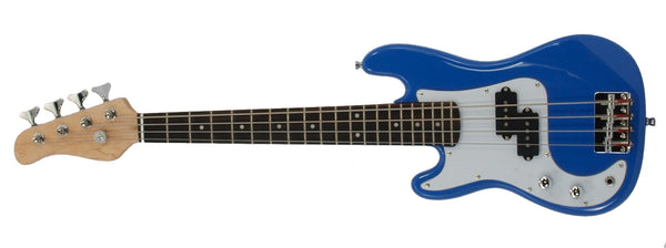Left Handed Electric Base Guitar, Small Scale 36 Inch Mini Sized, Color: Blue