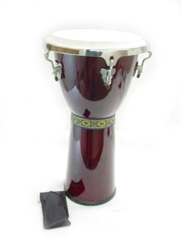 "DJEMBE DRUM w. 11"" HEAD - RED WINE TRANSPARENT 2' NEW!"